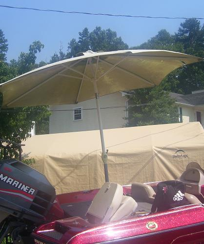 Viewing a thread shade on the lake for your bass boat for Boat umbrellas fishing