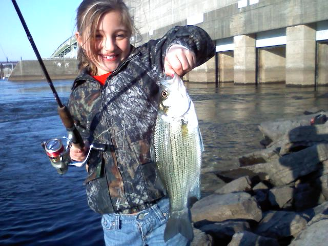 Katie bugs big white bass 11/20/08