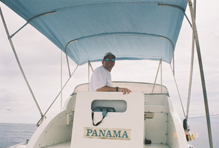 Backing down on a black marlin in Panama